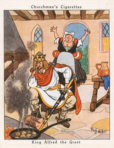 King Alfred the Great. Illustration for Churchman's Howlers cigarette cards (early 20th century).