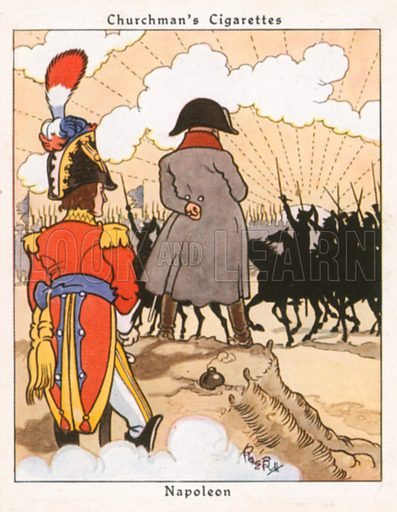 Napoleon. Illustration for Churchman's Howlers cigarette cards (early 20th century).