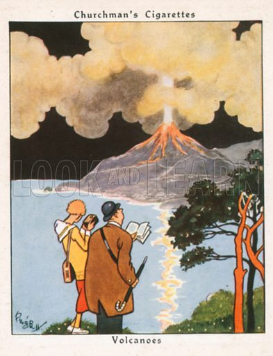 Volcanoes. Illustration for Churchman's Howlers cigarette cards (early 20th century).