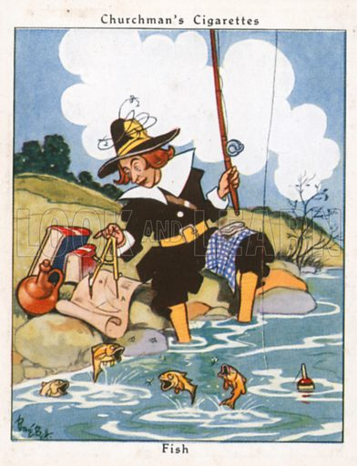 Fish. Illustration for Churchman's Howlers cigarette cards (early 20th century).