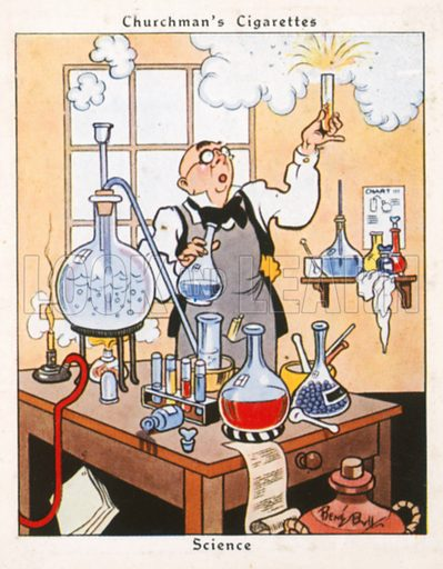 Science. Illustration for Churchman's Howlers cigarette cards (early 20th century).