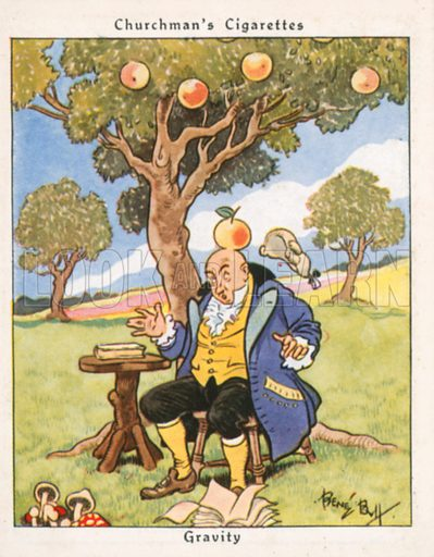 Gravity. Illustration for Churchman's Howlers cigarette cards (early 20th century).