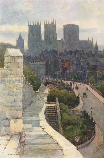 York from the City Walls. Illustration for Our Beautiful Homeland series (various, early 20th cent).