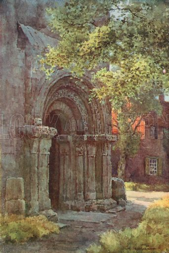 Norman Porch, St Lawrence's Tower. Illustration for Our Beautiful Homeland series (various, early 20th cent).