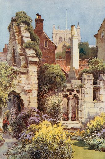 Ruins of St Anne's Chapel, Ripon. Illustration for Our Beautiful Homeland series (various, early 20th cent).