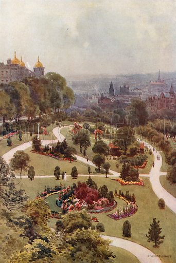 The Valley Gardens, Harrogate. Illustration for Our Beautiful Homeland series (various, early 20th cent).
