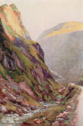 Honister Pass – Dawn. Illustration for Our Beautiful Homeland series (various, early 20th cent).