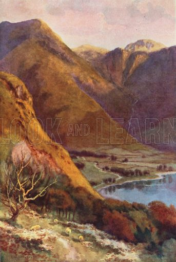 Head of Buttermere and Honister Crag. Illustration for Our Beautiful Homeland series (various, early 20th cent).