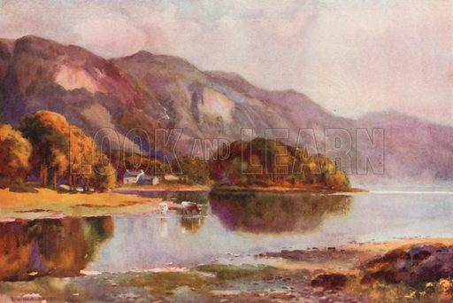 Derwentwater from Friars Crag. Illustration for Our Beautiful Homeland series (various, early 20th cent).