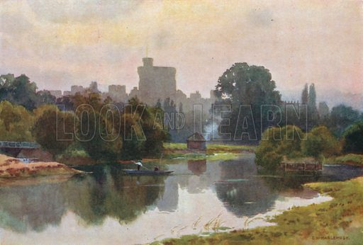 Windsor Castle from Fellows' Eyot, Eton. Illustration for Our Beautiful Homeland series (various, early 20th cent).