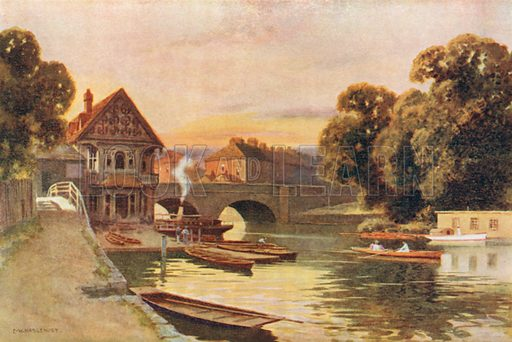 Folly Bridge, Oxford. Illustration for Our Beautiful Homeland series (various, early 20th cent).