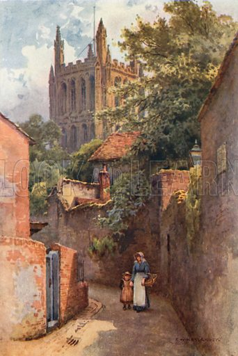 Gwynne Street from the Site of Nell Gwynne's Birthplace. Illustration for Our Beautiful Homeland series (various, early 20th cent).