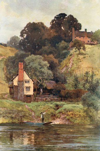 Offa's Dyke at Bridge Sollers. Illustration for Our Beautiful Homeland series (various, early 20th cent).