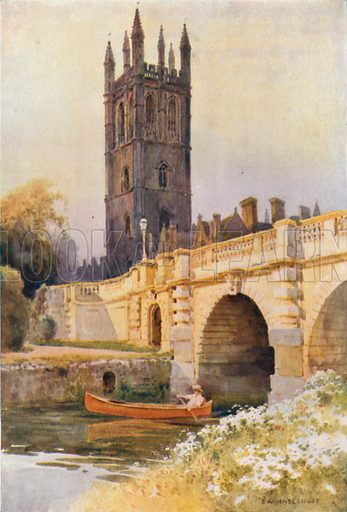Magdalen Bridge and Tower. Illustration for Our Beautiful Homeland series (various, early 20th cent).