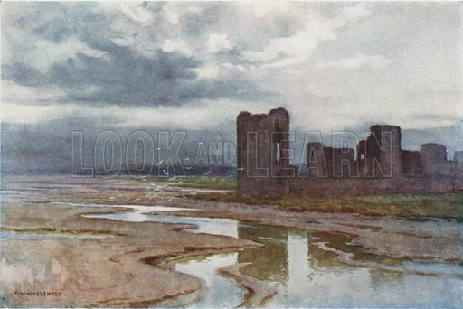 Sands of Dee, Flint Castle. Illustration for Our Beautiful Homeland series (various, early 20th cent).