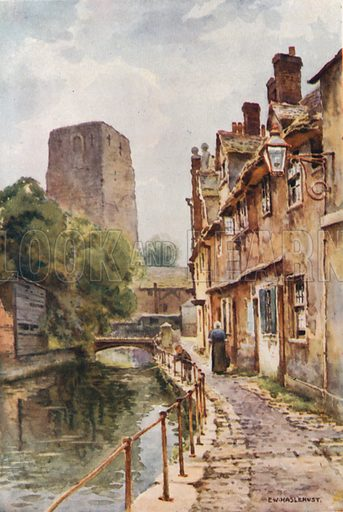 Fisher Row and Remains of Oxford Castle. Illustration for Our Beautiful Homeland series (various, early 20th cent).