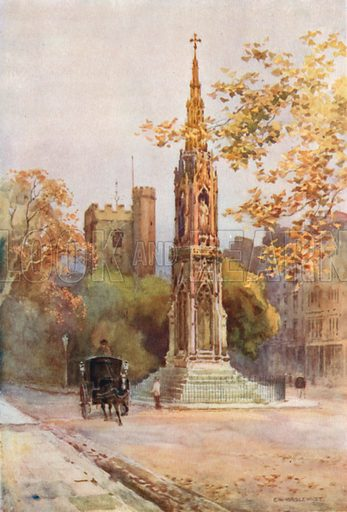 Martyrs' Memorial and St Giles. Illustration for Our Beautiful Homeland series (various, early 20th cent).