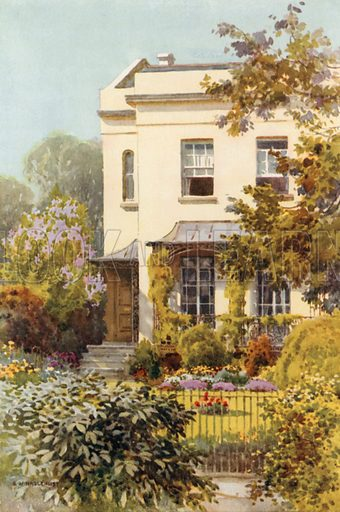 Nathaniel Hawthorne's House, Leamington. Illustration for Our Beautiful Homeland series (various, early 20th cent).