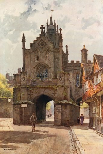 East Gate, Warwick. Illustration for Our Beautiful Homeland series (various, early 20th cent).