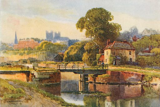 Exeter from the Canal. Illustration for Our Beautiful Homeland series (various, early 20th cent).