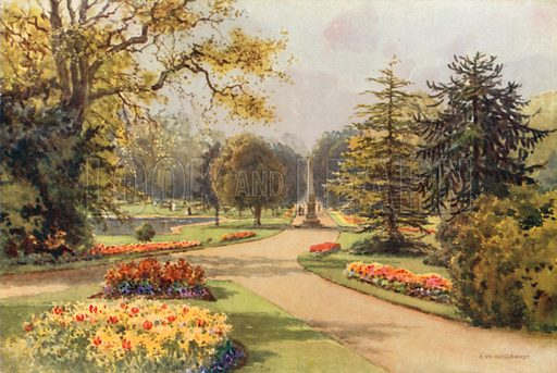 In the Jephson Gardens, Leamington. Illustration for Our Beautiful Homeland series (various, early 20th cent).