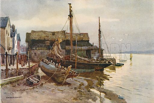 The Exe at Topsham. Illustration for Our Beautiful Homeland series (various, early 20th cent).