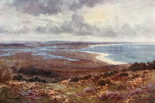 Poole Harbour from Studland. Illustration for Our Beautiful Homeland series (various, early 20th cent).