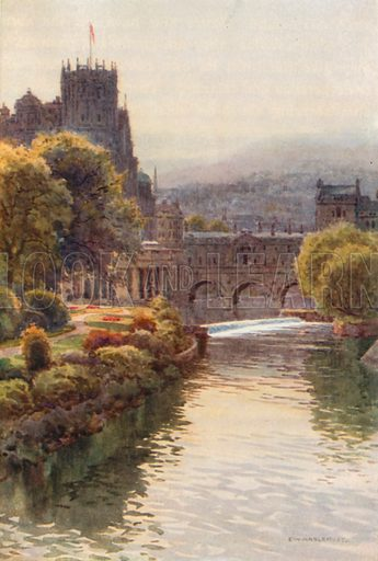 View from the North Parade Bridge, Bath. Illustration for Our Beautiful Homeland series (various, early 20th cent).