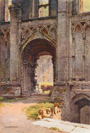 Doorway of Chapel of St Mary, Glastonbury Abbey. Illustration for Our Beautiful Homeland series (various, early 20th cent).