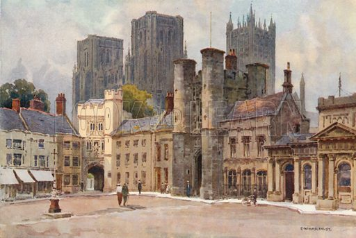 The Market Place, Wells. Illustration for Our Beautiful Homeland series (various, early 20th cent).