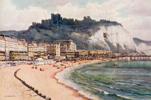 Dover Castle and Marine Parade. Illustration for Our Beautiful Homeland series (various, early 20th cent).
