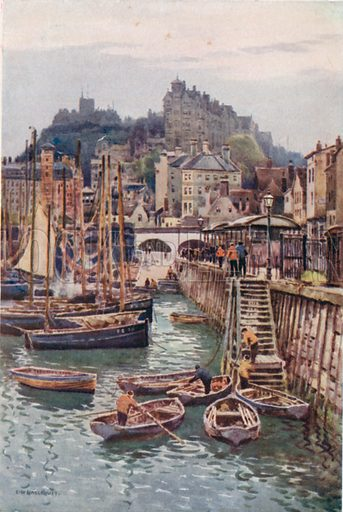 The Fishing Harbour, Folkestone. On the Quay-Side is a Small Fish-Market; Beyond the Market are Picturesque Old Houses up the Side of the Cliff, Forming an appropriate background to the Harbour with its many Fishing-Boats. Illustration for Our Beautiful Homeland series (various, early 20th cent).