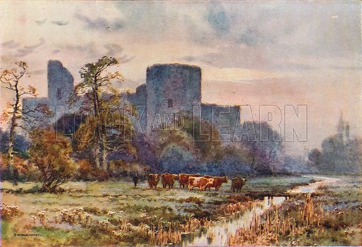 Pevensey Castle from the Meadwos. Illustration for Our Beautiful Homeland series (various, early 20th cent).