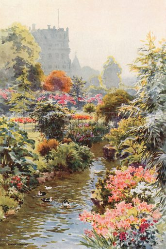 In the Upper Gardens, Bounemouth. Illustration for Our Beautiful Homeland series (various, early 20th cent).