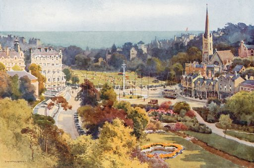 Bounemouth: The Square and Garden from Mont Dore. Illustration for Our Beautiful Homeland series (various, early 20th cent).