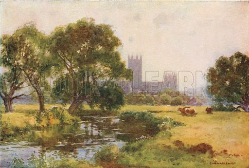 Canterbury from the Stour. Illustration for Our Beautiful Homeland series (various, early 20th cent).
