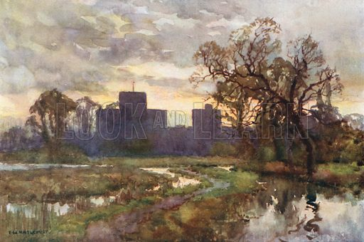 St Cross from the Meadows. Illustration for Our Beautiful Homeland series (various, early 20th cent).