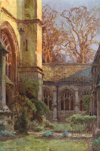 The Cloisters, Winchester College. Illustration for Our Beautiful Homeland series (various, early 20th cent).