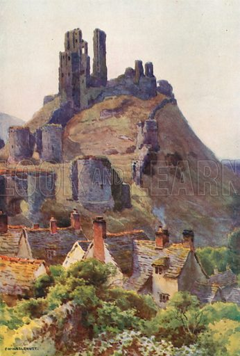 Corfe Castle. Illustration for Our Beautiful Homeland series (various, early 20th cent).