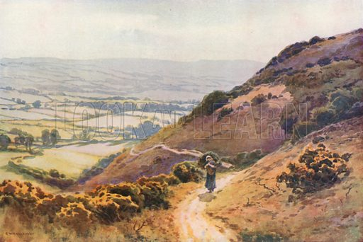 """Ballard Down, Swanage. The Walk over Ballard Down to Studland is one the """"Lions"""" of the Neighbourhood. Illustration for Our Beautiful Homeland series (various, early 20th cent)."""