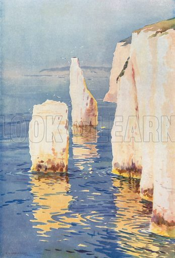 Old Harry Rocks, Swanage. Illustration for Our Beautiful Homeland series (various, early 20th cent).