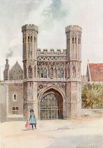 Gateway, St Augustine's Abbey, Canterbury. Illustration for The Greater Abbeys of England by Abbot Gasquet (Chatto & Windus, 1908).