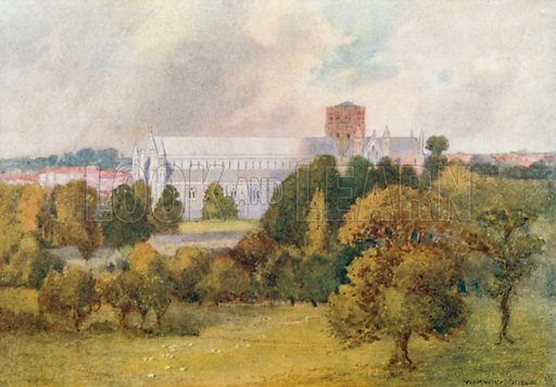 St Albans Cathedral from Verulam Hills. Illustration for The Greater Abbeys of England by Abbot Gasquet (Chatto & Windus, 1908).
