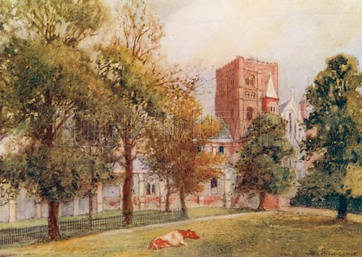 St. Albans Cathedral: The Norman Tower. Illustration for The Greater Abbeys of England by Abbot Gasquet (Chatto & Windus, 1908).