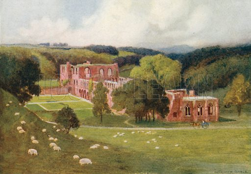 Furness Abbey. Illustration for The Greater Abbeys of England by Abbot Gasquet (Chatto & Windus, 1908).