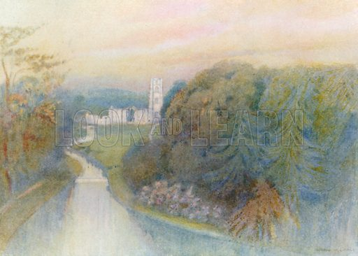 """Fountains Abbey: The """"Surprise View"""". Illustration for The Greater Abbeys of England by Abbot Gasquet (Chatto & Windus, 1908)."""
