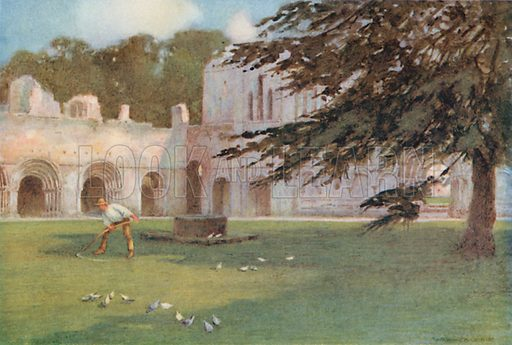 Fountains Abbey: The Cloisters. Illustration for The Greater Abbeys of England by Abbot Gasquet (Chatto & Windus, 1908).