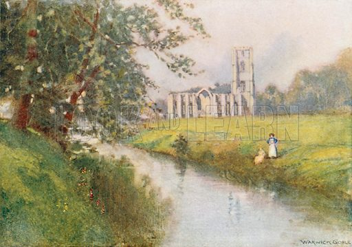 Fountains Abbey from the South-East. Illustration for The Greater Abbeys of England by Abbot Gasquet (Chatto & Windus, 1908).