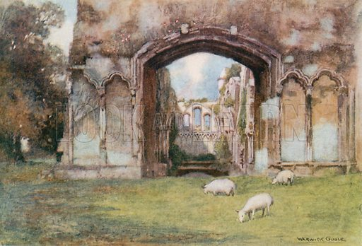 Glastonbury Abbey: St Joseph's Chapel. Illustration for The Greater Abbeys of England by Abbot Gasquet (Chatto & Windus, 1908).