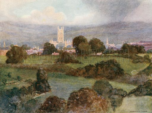 Gloucester Cathedral at Sunset. Illustration for The Greater Abbeys of England by Abbot Gasquet (Chatto & Windus, 1908).